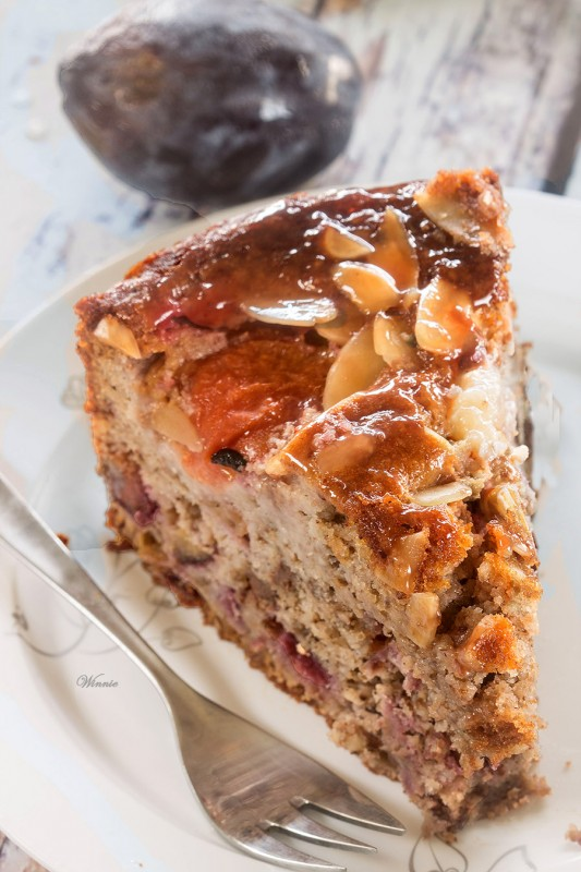 Plum Cake with Nuts & Chocolate