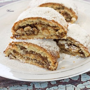Shortbread Roll-cookies filled with Honey and Nuts