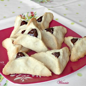 Hamantashen -Linzer shortbread cookies, filled with chocolate