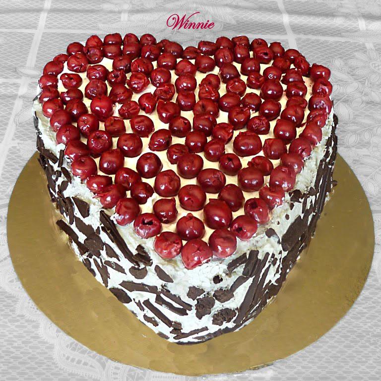 Chocolate Cherry Cake with Whipped-Cream