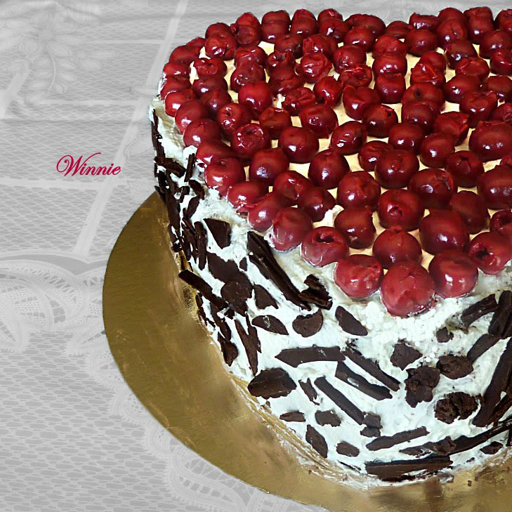 Chocolate Cherry Cake with Whipped-Cream