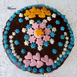 Chocolate Cake with Marshmallow Decorations