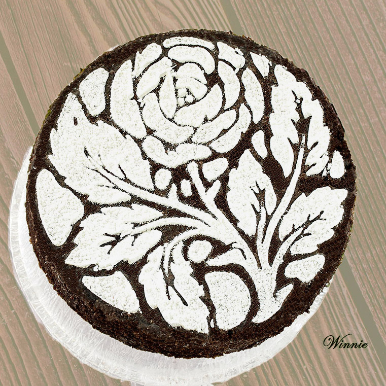 Honey Chocolate Cake, decorated with flower-pattern