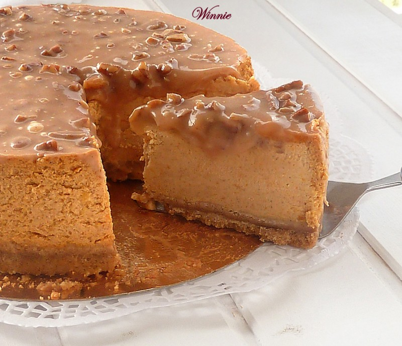 Pumpkin Cheesecake with Caramel Pecan Glaze