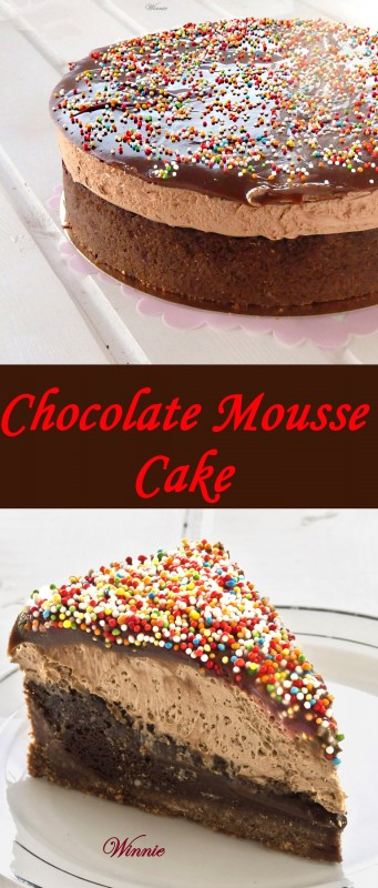 Chocolate Cake with Cookie-crust and layer of Mousse